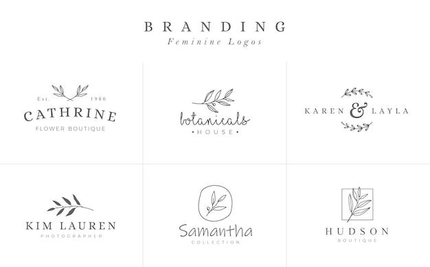 Set di segni di vettore botanico femminile o modelli di logo