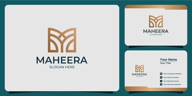 Set di modelli di logo della lettera m femminile per bellezza disegnata a mano e biglietti da visita