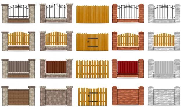 Insieme del recinto fatto dall'illustrazione di legno di vettore del mattone di pietra