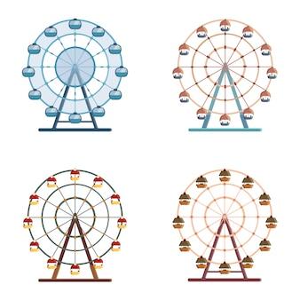 Set di ruote panoramiche. illustrazioni in stile piatto isolati su sfondo bianco.