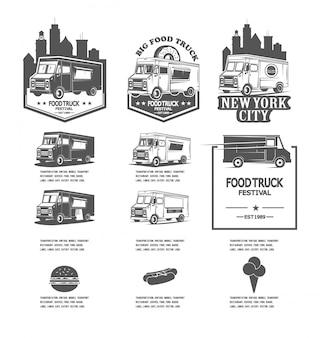 Impostare loghi di camion di cibo festival, icone per le aziende di fast food
