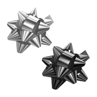 Set di fiocchi festivi di colori bianco e nero su sfondo bianco, illustrazione
