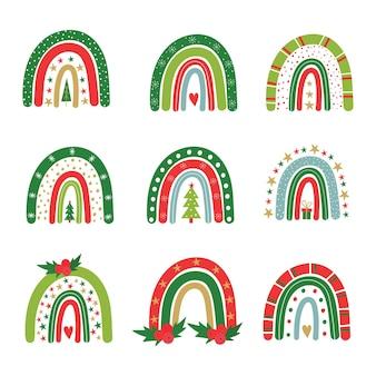 Set di arcobaleni festivi christmas rainbow vector baby illustration simboli di capodanno e natale
