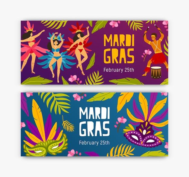 Set di modelli di banner web festivi con ballerini, batterista, foglie e fiori tropicali e maschere natalizie
