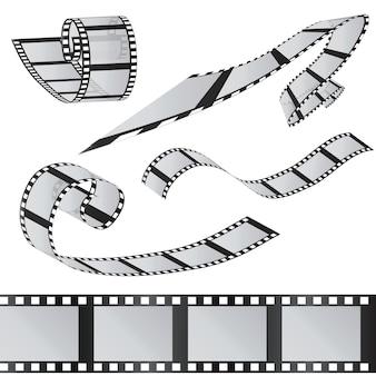 Il set dei film. rotolo di pellicola da 35 mm. immagine 3d realistica. vecchia striscia di pellicola. tempo di film illustrazione vettoriale. isolato su bianco.