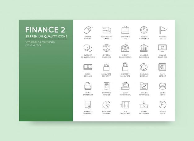 Set di icone di denaro finanziario e pagamenti e reddito ricco possono essere utilizzati come logo o icona in qualità premium