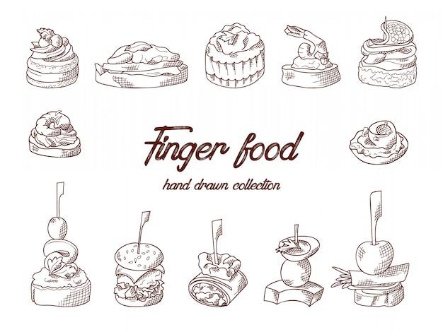 Insieme di elementi finger food. canape e appetiti serviti su bastoncini in stile schizzo. modello di servizio di catering. illustrazione