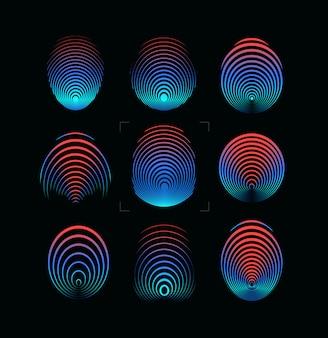 Set di illustrazione di impronte digitali