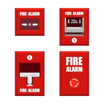 Insieme dell'illustrazione degli allarmi antincendio isolato su fondo bianco