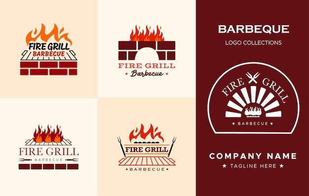 Set di modelli di progettazione del logo della griglia del barbecue del fuoco