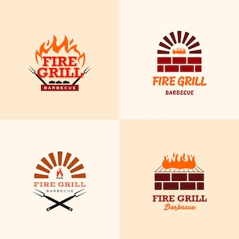 Set di modelli di design del logo fire barbeque grill