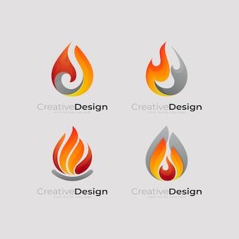 Set fuoco logo e combinazione di design, fuoco semplice