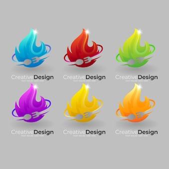 Imposta il logo del fuoco con posate dal design colorato, icone del ristorante