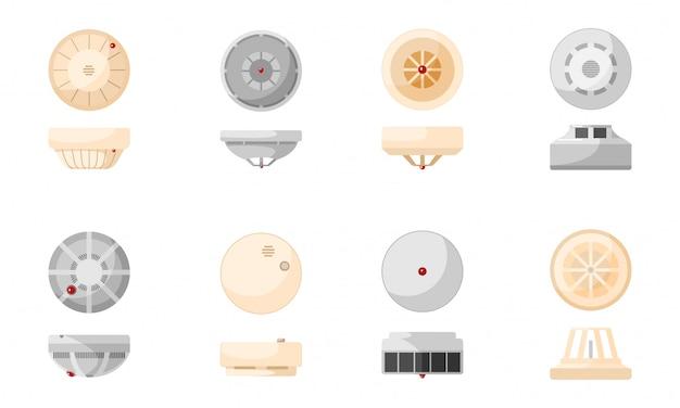 Impostare il sensore rilevatore di fumo antincendio su sfondo bianco. sensore di gas in stile piatto. allarme di sicurezza domestica.