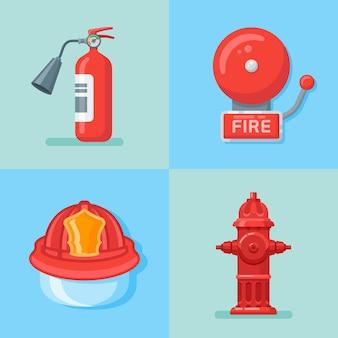 Set di vigili del fuoco o emergenza antincendio in stile piano