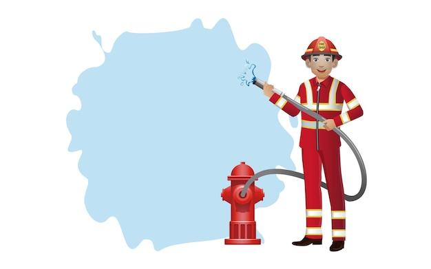 Set di vigile del fuoco con pose diverse