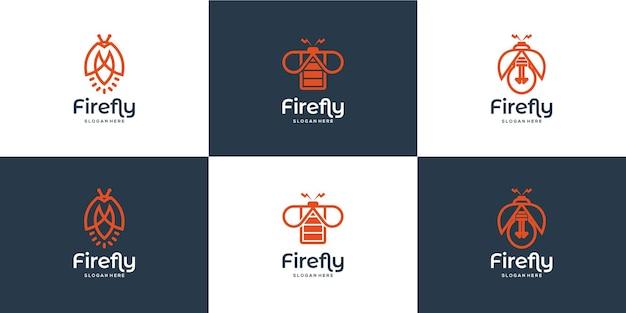 Set di logo moderno lucciola