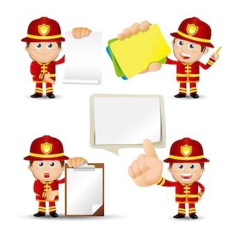 Set di pompieri con pose diverse