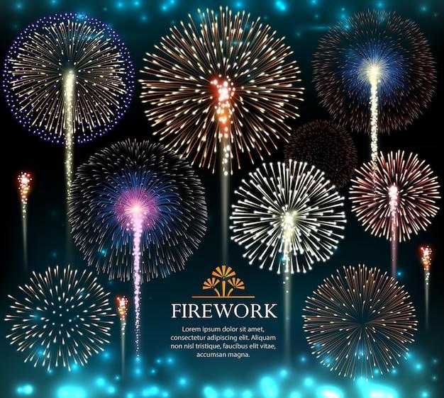 Set di fuochi d'artificio, banner festivo, invito a un'illustrazione di vacanza