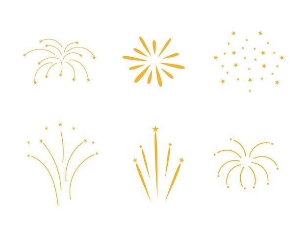 Impostare fuochi d'artificio. illustrazione vettoriale piatto.