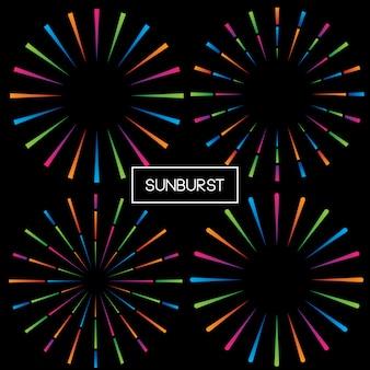 Impostare fireworks and sunburst vintage