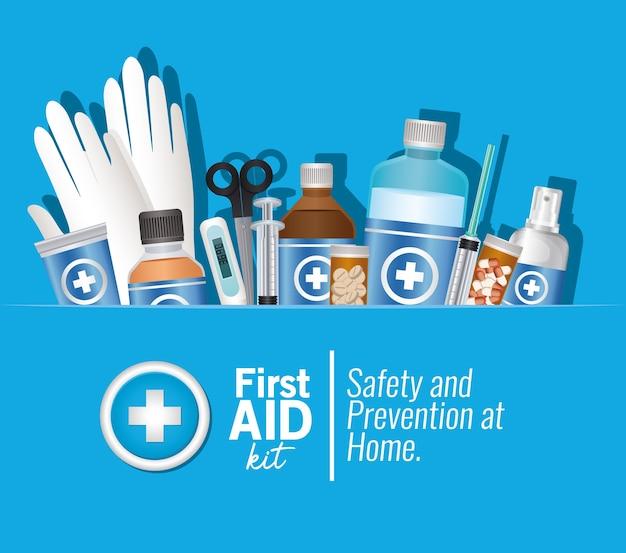 Set di icone di primo soccorso su illustrazione blu
