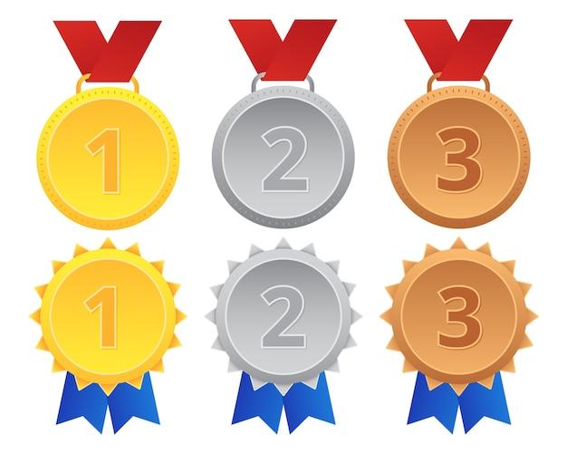 Set di medaglia di bronzo argento oro primo secondo terzo
