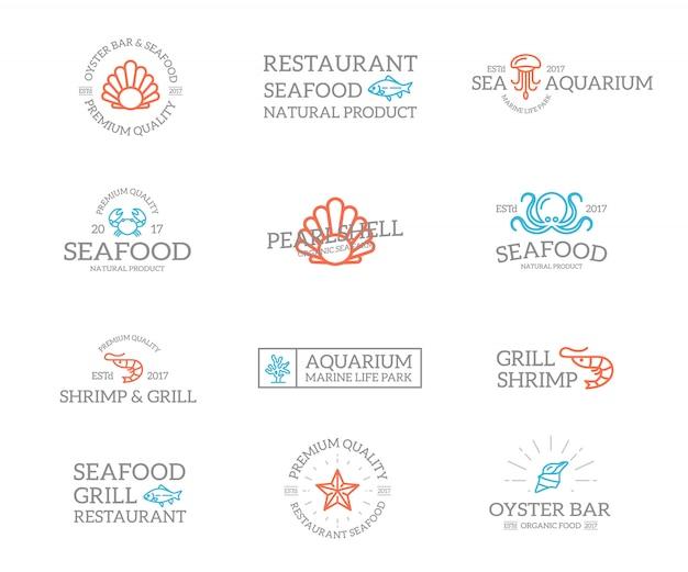 Set di combinazione logo pesce e frutti di mare. Vettore Premium