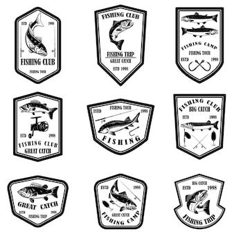 Set di emblemi del club di pesca.