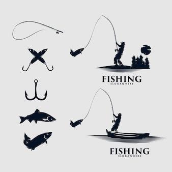 Set di design del logo da pesca