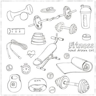 Set di icone di schizzo di dieta e assistenza sanitaria fitness bodybuilding.