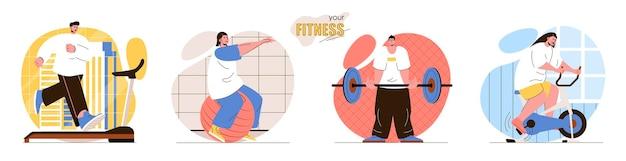 Impostare l'illustrazione del concetto di design piatto fitness dei personaggi delle persone