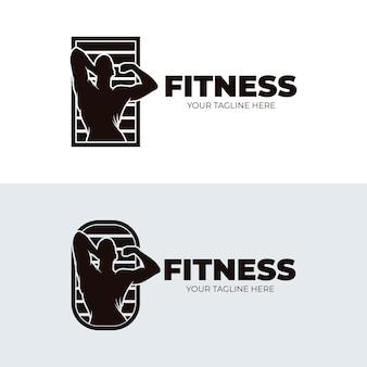 Set di illustrazione del design del logo fitness