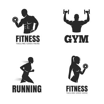 Set di modelli di logo di fitness isolato su priorità bassa bianca