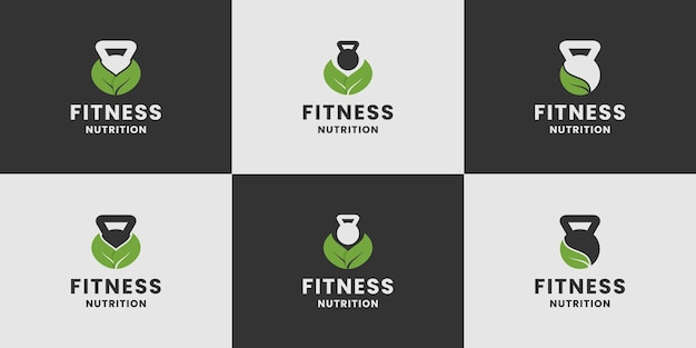 Set di collezione di design del logo per l'alimentazione per il fitness