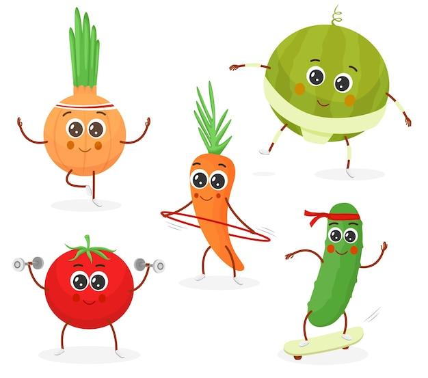 Set di personaggi dei cartoni animati di verdure fitness