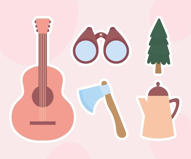 Set di cinque icone di campeggio