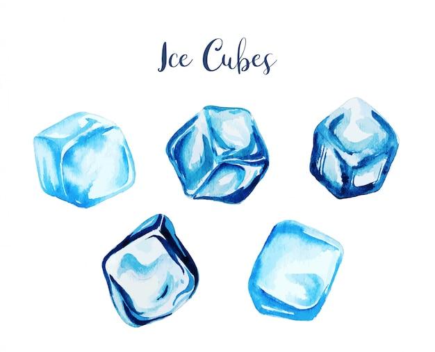 Set di cinque cubetti di ghiaccio dell'acquerello, disegnati a mano