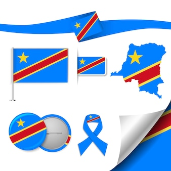 Insieme di elementi di bandiera con la repubblica democratica del congo