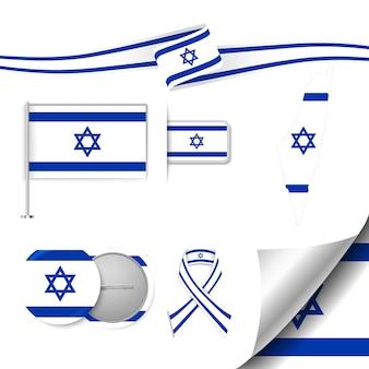 Insieme di elementi di bandiera con israele