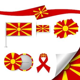 Insieme di elementi di bandiera con la macedonia