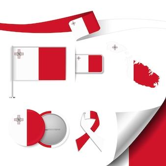 Insieme di elementi di bandiera con malta