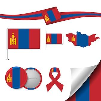 Insieme di elementi di bandiera con la mongolia