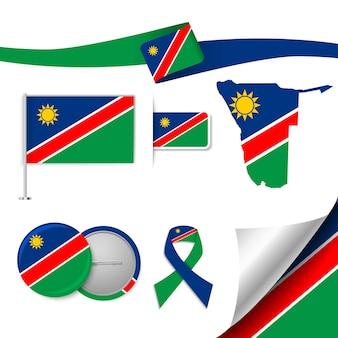 Insieme di elementi di bandiera con la namibia