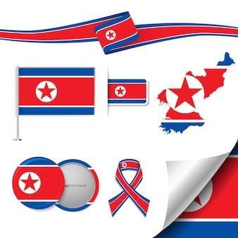 Insieme di elementi di bandiera con la corea del nord