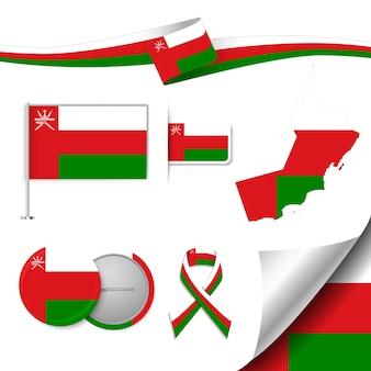 Insieme di elementi di bandiera con l'oman