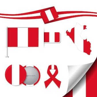 Insieme di elementi di bandiera con il perù