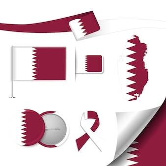 Insieme di elementi di bandiera con il qatar