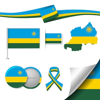Insieme di elementi di bandiera con il ruanda Vettore Premium