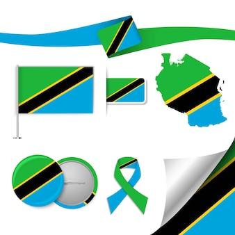 Insieme di elementi di bandiera con la tanzania